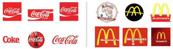 logo cải tiến của McDonalds và Coca Cola
