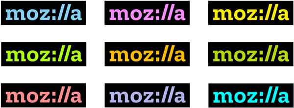 phiên bản logo màu sắc của mozilla