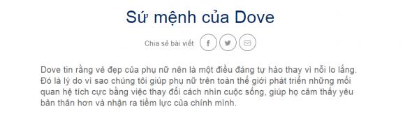 tuyên bố về sứ mệnh của Dove