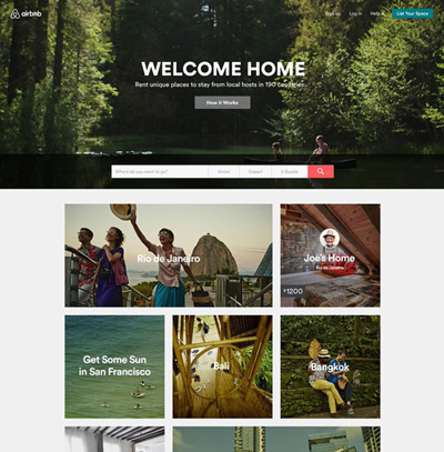 website mới của airbnb