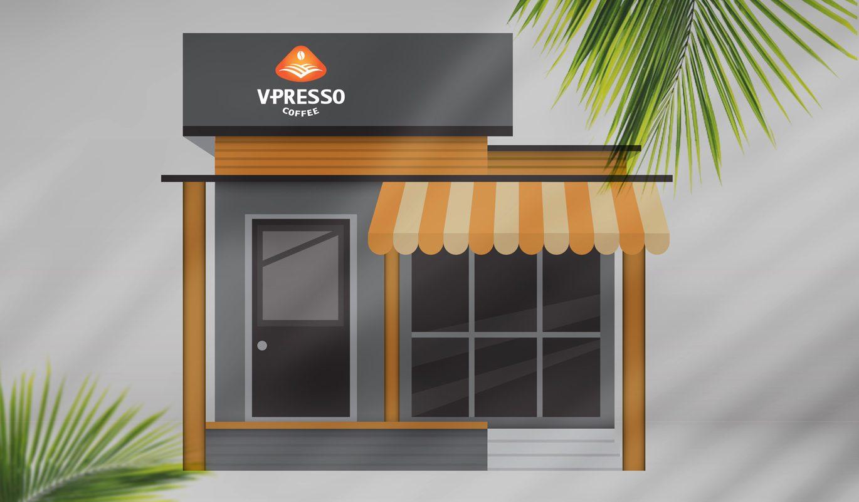 thiết kế biển quán cafe V-Presso
