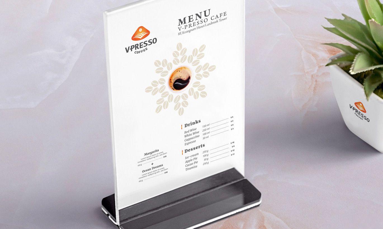 thiết kế Menu cafe V-Presso 2