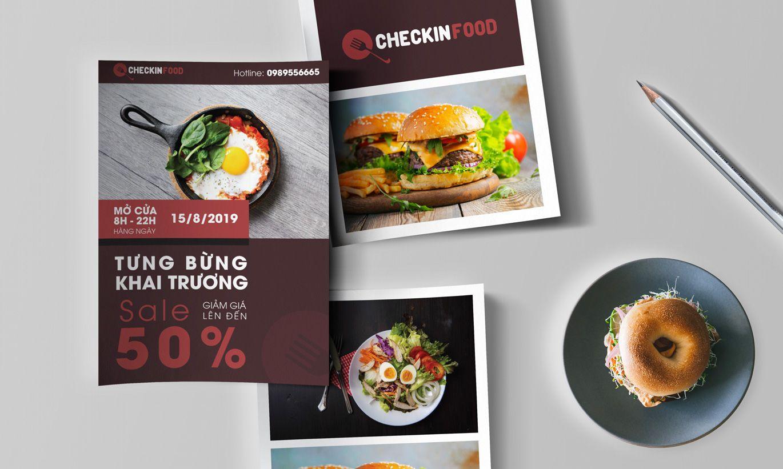 thiết kế tờ rơi checkin food 1